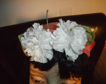 Womens Pillbox Hat~ Bright Pink ~ White Carnations Flowers~  Ladies Vintage Hat