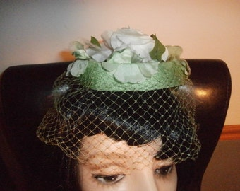 Womens  Pillbox Hat Green  Floral MILLINERY  Cocktail Hat Womens Vintage Pill box Hat