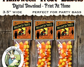 Halloween Witch Candy Corn Treat Labels Digital Download Printable Tags Vintage Style Party Favor Label Scrapbook Clip Art Image Sheet
