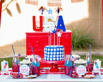 4th of July Instant Download Party Decorations, Invitation, Write In Invite