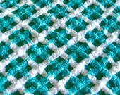 Turquoise Lattice Plush Chenille Fabric 12 X 24 Inches