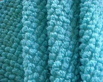 Bright Aqua Plush Pops Vintage Chenille Bedspread Fabric 24x12
