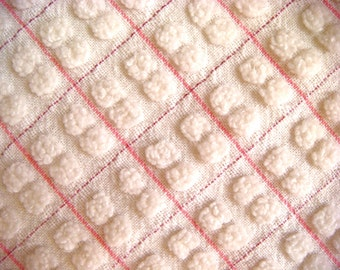 Morgan Jones Pink and White Pops Vintage Cotton Chenille Bedspread Fabric Curved Corner Section