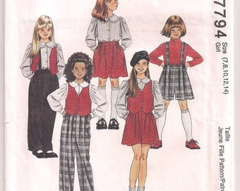 Girls Pattern, Lined Vest, long sleeve blouse, pants or shorts, optional suspenders, school clothes, McCalls 7794, girls clothing, SZ  7- 14