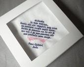 Wedding handkerchief beautifully machine embroidered - save the date handkerchief - with gift box