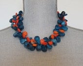 Deep Navy Blue and Orange Coral Necklace with Blue Crystals