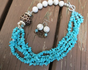 Turquoise Chips and White Magnesite with Asymmetric Bone Focal Bead and Crystals