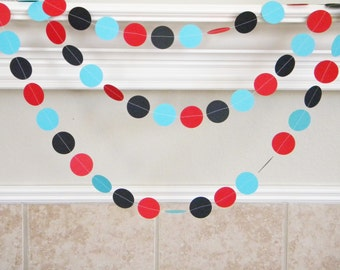 Red Turquoise Black Birthday Party Paper Garland, Little Man Mustache Party, Little Boy First Birthday, Graduation Decor, Photo backdrop