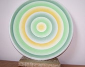 Yellow and Green, Spritzdekor, German Platter, German Plate, Bulls Eye Design, Airbrushed Stenciled, Wall Hanging, Circular Design, Vintage
