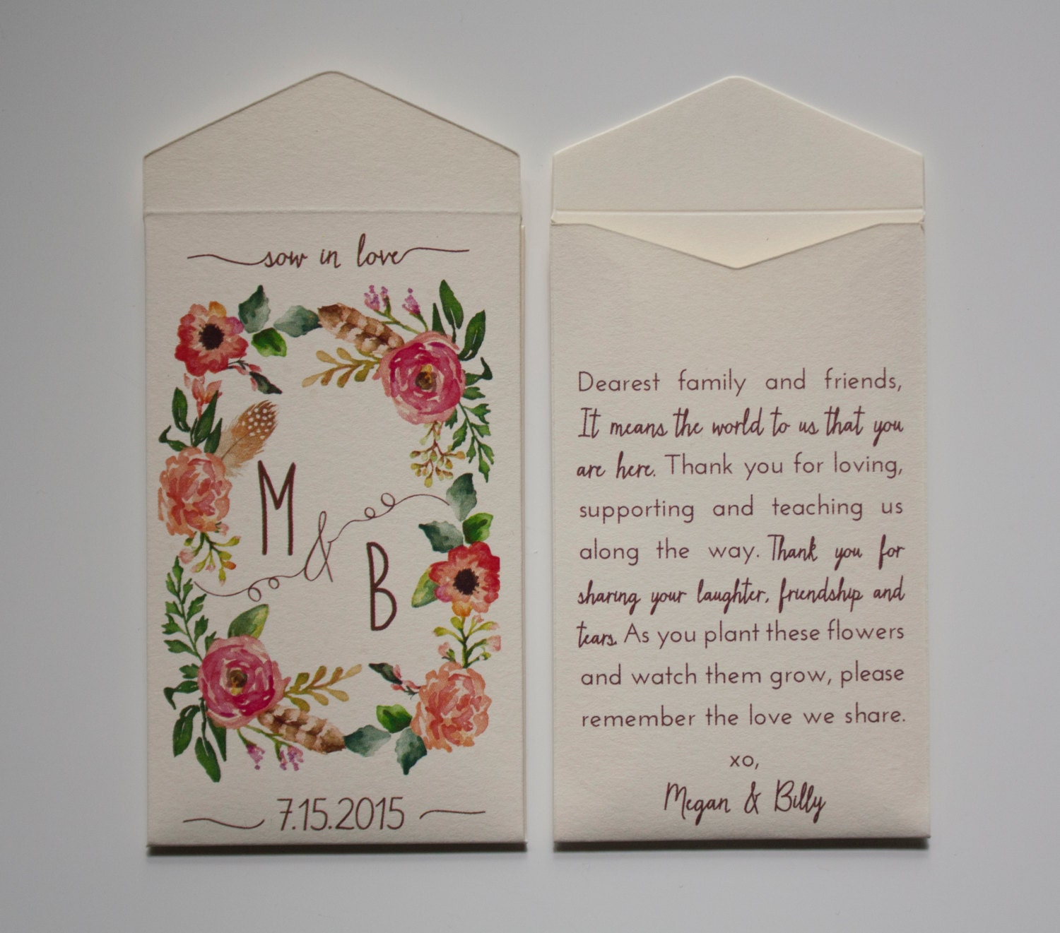 Sow In Love Wedding Favor Seed Packet Envelopes Custom Seed