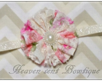 Baby Headbands, Pink and cream Lace Infant Headband, Newborn flower headband, Baby headband
