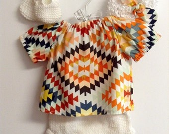 Boho baby clothes Newborn Tribal top baby shirt and cotton knit diaper cover with matching headband READY TO SHIP