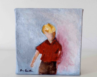 Boy In A Red Shirt - Small Original Painting