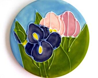 Vintage Trivet Iris Tulips Decorative Tile  H & R Johnson Ceramic Tile England Blue Pink Green Signed