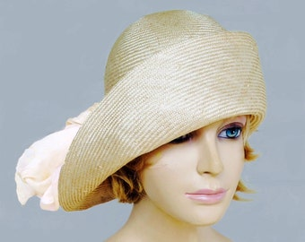 Gabby, Cloche flapper hat, womens parasisal straw millinery hat with cream silk scarf