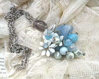 enamel flower necklace assemblage pendant bird blue upcycle jewelry