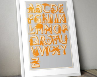 Star Wars, Star Wars Print, Nursery Art, Star Wars Nursery, Star Wars Kids, Star Wars Alphabet, Grey, Amber, Yellow and Grey