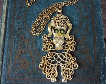 Vintage Long Necklace Poodle Articulated Pendant Dog Rhinestone eyes Long Chain 1960s to 1970s