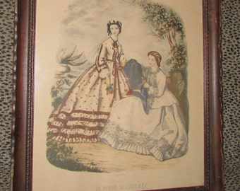 Antique GODEY Lady Hand Colored French FASHION Print Scalloped Wood Frame 1800's Large 18 1/2