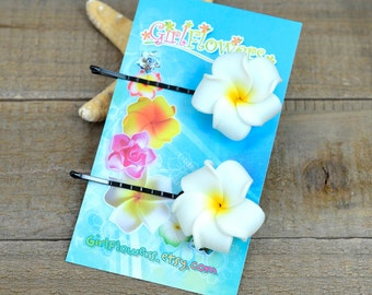 Plumeria Bobby Pins, 1 inch Flower, White and Yellow,  Floral Hair Pins