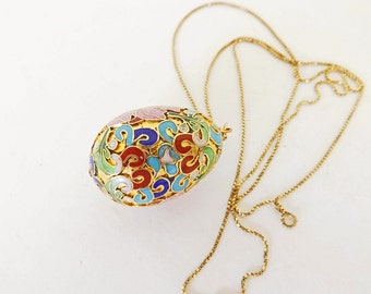 Vintage Necklace with Cloisonne Egg and Sterling Silver Chain, Fine Jewelry, Costume Jewelry, Jewelry Accessories, Ladies Jewelry