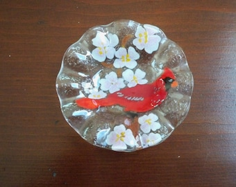 Vintage Collectible Hand Blown Fused Glass Ring Dish Glass Cardinal in Springtime