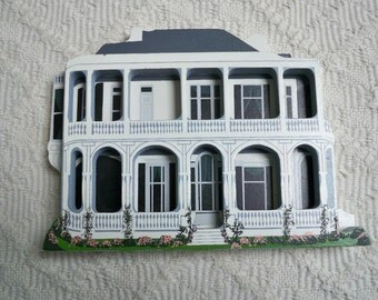 Vintage Collectible Wood House Queen Anne Charleston Hand Made Painted