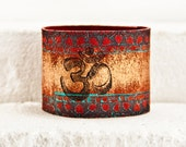 Yoga Bracelet - Leather Cuff Leather Jewelry - Artisan Handmade Leather Wristband - Boho Fashion