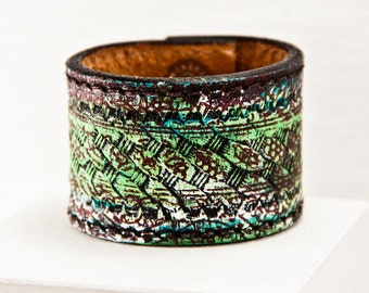 Leather Cuffs - Eco Friendly - 2016 Nature Jewelry - Natural Earthy Bracelets - Green Upcycled Reclaimed - Valentine's Day