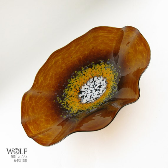 MADE TO ORDER Blown Glass Wall Platter Amber Brown with Orange Poppy Flower Wall Art Decor