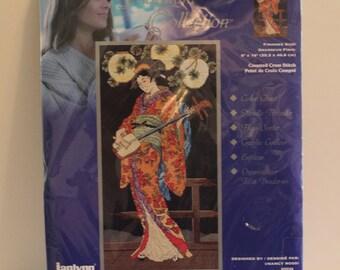 KAMEKO Elegant Asian Women Playing Musical Intsrument Cross Stitch Kit