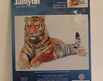 Manchurian Tiger Big Cat Counted Cross Stitch Kit