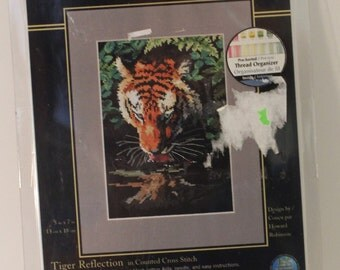 Gold Collection Tiger Reflection in Lake Wild Big Cat  Counted Cross Stitch Kit