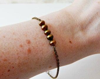 Earthy Pearl Bracelet with Brass Chain