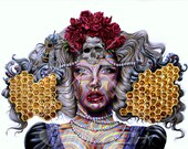 """Original Drawing entitled Queen Bee - Print 14"""" X 11"""""""