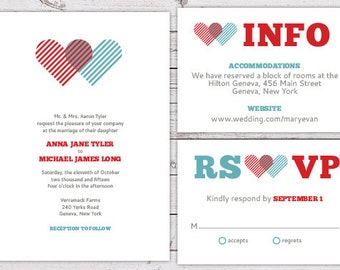 Printable Wedding Invitation Set - Invite, RSVP Card, Info Card - Overlapping Heart