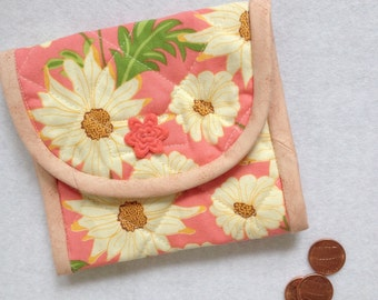 Coin Purse, change case, business card holder, purse organizer, peach  and green flower, gift idea for mom, friend, daughter, coworkers