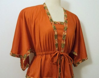 Vintage 1970's Maxi Dress Gown // Rust Orange Sleeveless Gown w/ Peplum Jacket // The House of Nu-Mode
