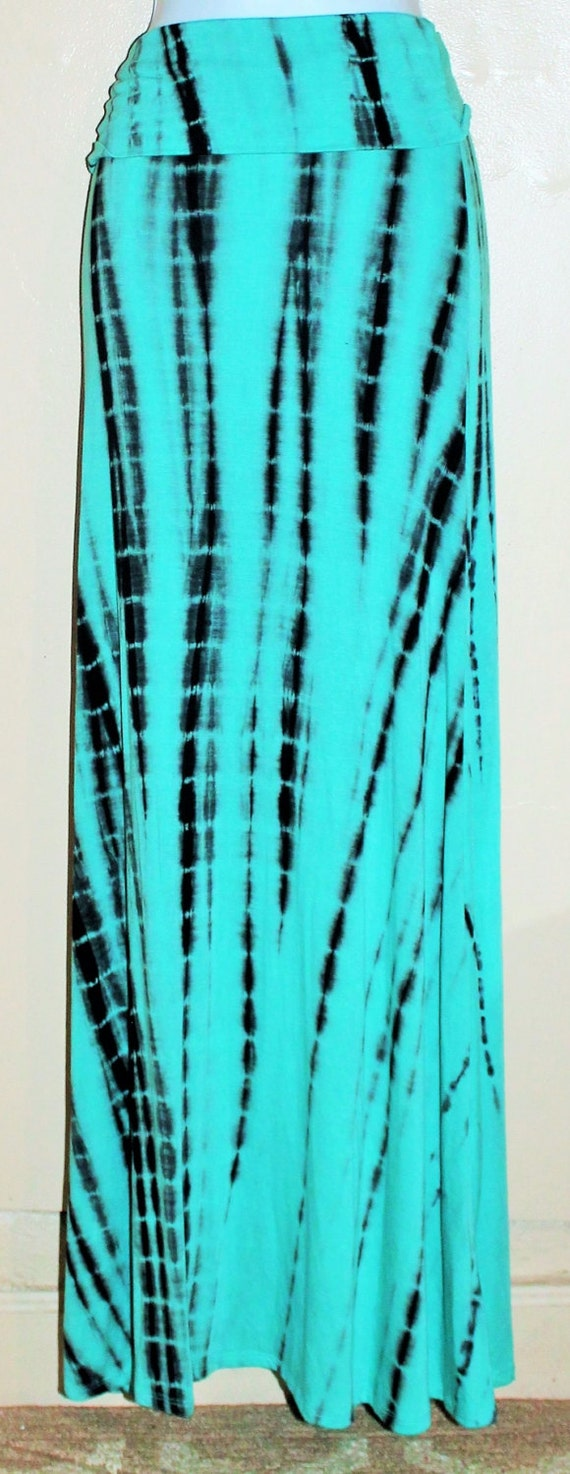 tie dye mint maxi skirt fold waist gorgeous by