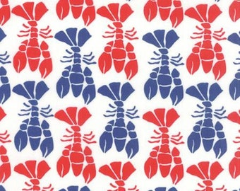 Nap Mat - Monogrammed Red & Navy Beach House Crawfish Nap Mat with Navy Double-sided Minky or Minky Dot Blanket