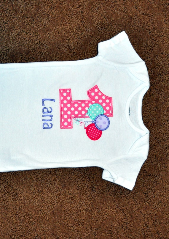 a4a431528 ... Monogrammed/Personalized First Girl Birthday Balloons Appliqued Body  Suit, Sizes These are great birthday outfits for twins! Visit my shop  here... here