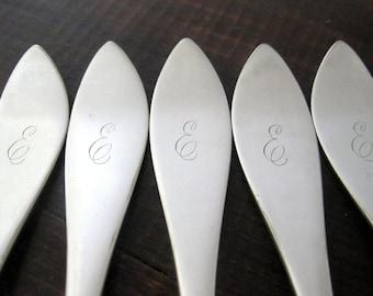 Antique E Monogram Forks, E. A. Brown, Set of 5 Silverplate
