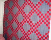 Vintage Red and Blue DOUBLE IRISH CHAIN  Quilt Top
