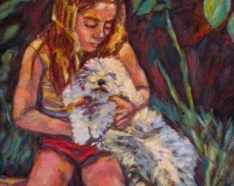 Nan and Beau Art 18x20 Impressionist Portrait Oil Painting by Award Winner Kendall F. Kessler