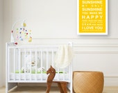 You are my Sunshine- Nursery Wall Art Print - large A2 Size