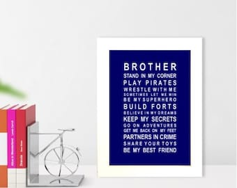 A5 unframed wall art print Brothers typography poster for brothers