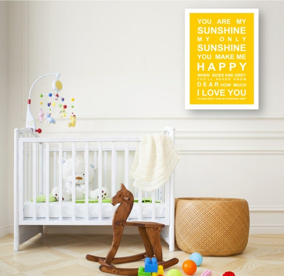 You are my Sunshine- Nursery Wall Art Print - large A2 Size