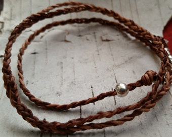 SALE  Braided Leather Wrap Bracelet