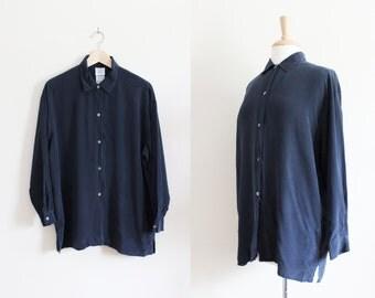 Vintage Laura Ashley Navy Silk Button Down