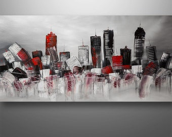 Abstract Painting, Cityscape Painting, Skyline Painting, Large Painting, Wall Decor, Wall Art, Painting, Art, Canvas Painting, Surreal Art